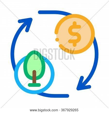 Cycle Of Trees And Money Icon Vector. Cycle Of Trees And Money Sign. Color Symbol Illustration