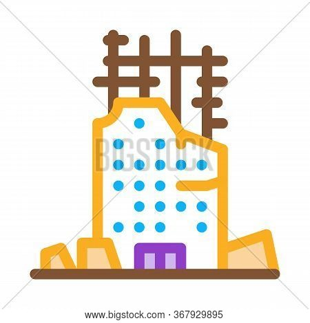 Collapse Of House To Initial Foundation Icon Vector. Collapse Of House To Initial Foundation Sign. C