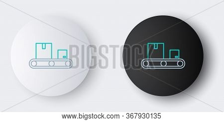 Line Conveyor Belt With Cardboard Box Icon Isolated On Grey Background. Colorful Outline Concept. Ve