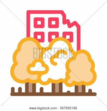 Forest Ruined House Background Icon Vector. Forest Ruined House Background Sign. Color Symbol Illust