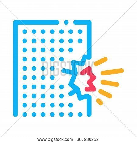 Blow House Collapse Icon Vector. Blow House Collapse Sign. Color Symbol Illustration