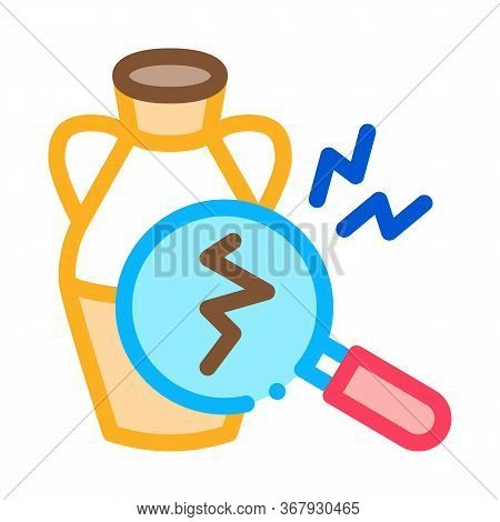 Auction Vase Crack Detection Icon Vector. Auction Vase Crack Detection Sign. Color Symbol Illustrati