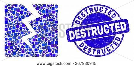 Geometric Destruct Mosaic Pictogram And Destructed Seal Stamp. Blue Vector Round Grunge Seal With De