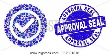 Geometric Approve Seal Mosaic Icon And Approval Seal Stamp. Blue Vector Rounded Distress Seal Stamp