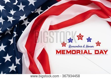 Us American Flag On White Background. For Usa Memorial Day,  Memorial Day. Top View With Memorial Da