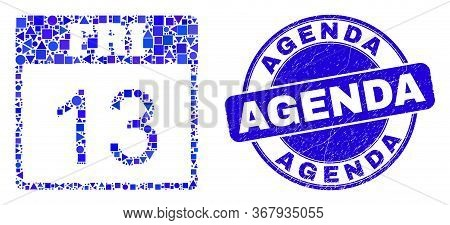 Geometric 13 Friday Calendar Page Mosaic Icon And Agenda Stamp. Blue Vector Round Textured Stamp Wit