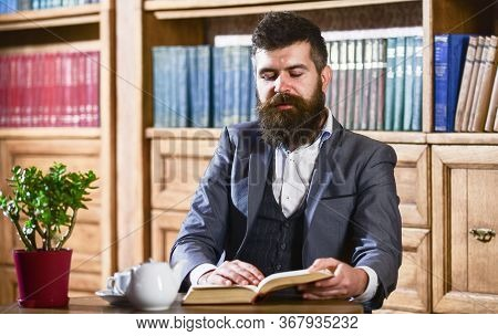 Aristocrat On Thoughtful Face Reading Book. Aristocratic Lifestyle Concept.