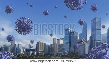 Coronavirus, Covid-19 Fly In Downtown And Destroy Business. Covid 19, Corona Virus Falling From Blue