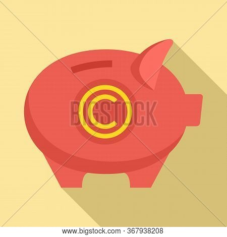 Company Piggy Bank Icon. Flat Illustration Of Company Piggy Bank Vector Icon For Web Design