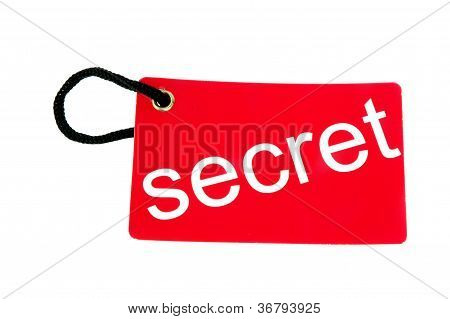 Red Paper Tag Labeled With Secret Words