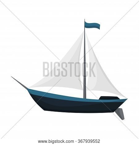 Yacht Sailboat Or Sailing Ship, Sail Boat Marine. Cruise Travel Company. Vector Icon