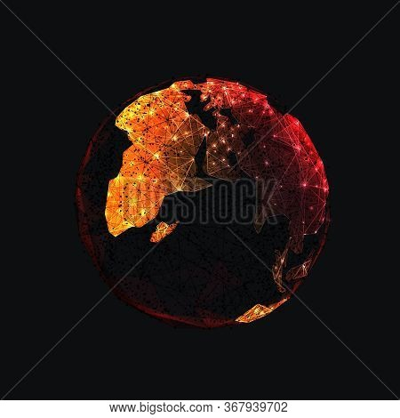 Digital Low Poly Earth Isolated In Black Background. Orange Continents Look Like Fire. Planet Covere