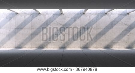 Concrete Blank Space Interior Wall. 3d Render