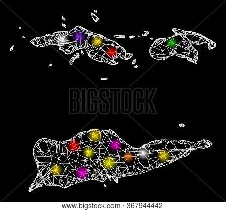Web Mesh Vector Map Of American Virgin Islands With Glare Effect On A Black Background. Abstract Lin