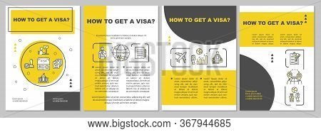 Visa Approval Brochure Template. Passport And Paperwork. Flyer, Booklet, Leaflet Print, Cover Design