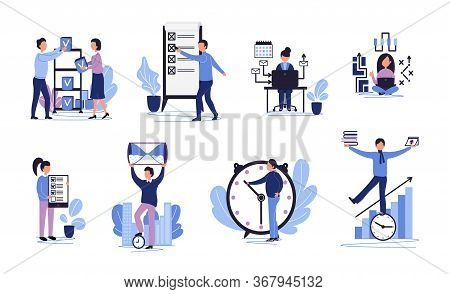 Effective Time Management Set With Flat Characters. Task And Oraganization Work Process With Hourgla