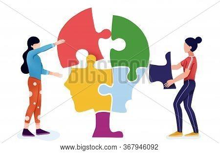 People Do Jigsaw Puzzle Of  Head,mental Health ,brain Development  Medical Treatment Concept,setting