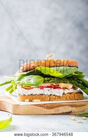 Vegan Sandwich With Tofu, Spinach, Radish, Asparagus,  And Green Dressing On The Board.green Fresh S