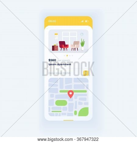 Apartment Parameters Smartphone Interface Vector Template. Mobile App Page White Design Layout. Rent