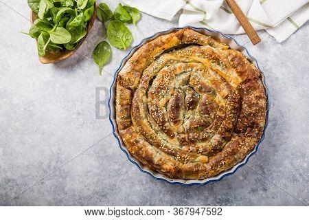 Fresh Baked Greek Spanakopita With Spinach, Feta Cheese And A Flaky Crust. Fresh Baked Greek Spanako