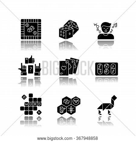 Entertaining Games Drop Shadow Black Glyph Icons Set. Traditional Fun Activities For Family Recreati