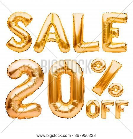 Golden Twenty Percent Sale Sign Made Of Inflatable Balloons Isolated On White. Helium Balloons, Gold
