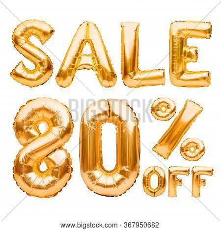 Golden Eighty Percent Sale Sign Made Of Inflatable Balloons Isolated On White. Helium Balloons, Gold