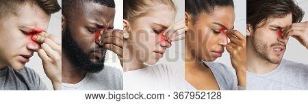 Sinusitis. Collage Of Diverse Sick People Touching Their Nose Bridge With Red Sore Zone, Suffering F