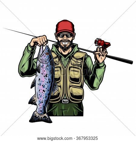 Vintage Colorful Concept Of Smiling Fisher With Caught Big Rainbow Trout And Fishing Rod Isolated Ve