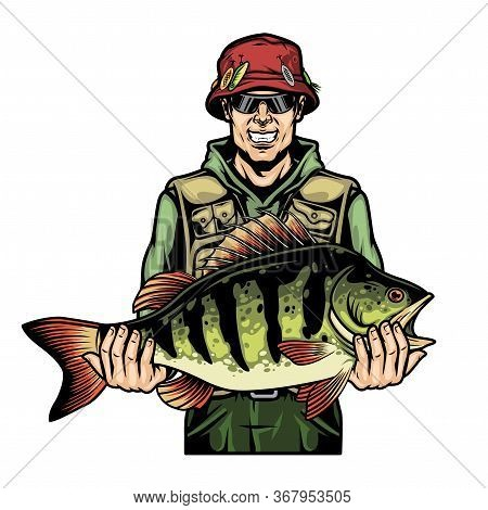 Colorful Fishing Template With Happy Angler Holding Perch Fish In Vintage Style Isolated Vector Illu