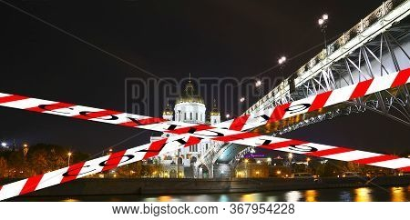 Coronavirus In Moscow, Russia. Christ The Savior Cathedral (at Night). Covid-19 Sign. Concept Of Cov