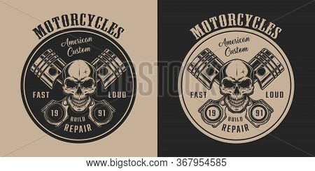 American Custom Motorcycle Service Vintage Label With Skull And Crossed Engine Pistons In Monochrome