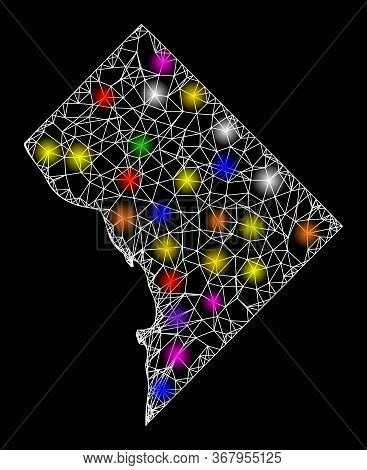 Web Mesh Vector Map Of District Columbia With Glare Effect On A Black Background. Abstract Lines, Li