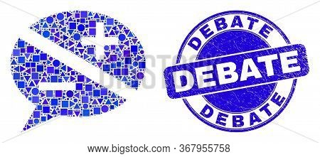 Geometric Discussion Messages Mosaic Pictogram And Debate Seal Stamp. Blue Vector Rounded Scratched