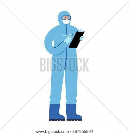 Doctor Virologist Epidemiologist In A Protective Suit Is Fighting An Epidemic And A Pandemic. Search