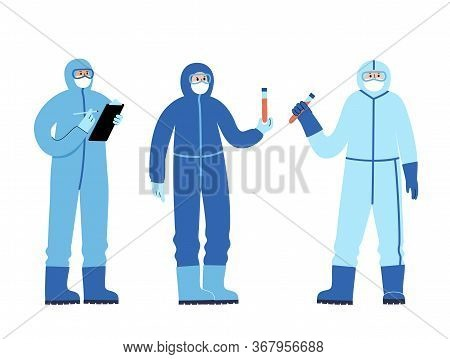 Set Of Doctors Virologists Epidemiologists In A Protective Suit Are Fighting An Epidemic And A Pande