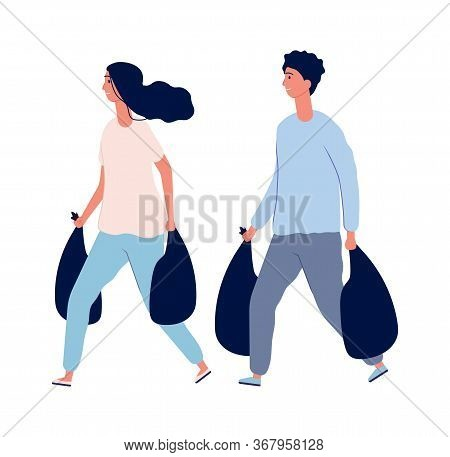House Cleaning. People With Waste In Bags. Organic Garbage, Sorting And Utilization Vector Illustrat
