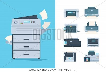 Copy Machines. Different Printers Pc Terminal Of Copying Technics Components Fax Printing House Gadg