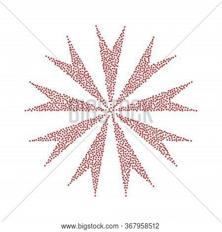 Flower Abstract Sign. Vector Icon With Red Circle At White Background. Isolated.
