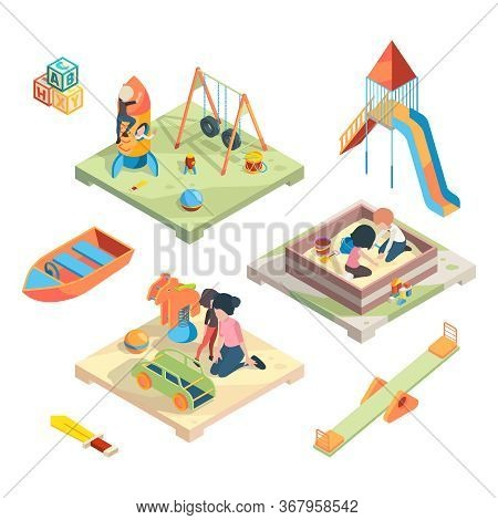 Playground Isometric. Place For Funny Games Kids Preschool Playing With Babysitter In Amusement Park