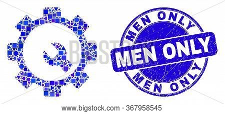 Geometric Setup Tools Mosaic Pictogram And Men Only Watermark. Blue Vector Round Textured Watermark