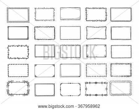 Doodle Frames. Sketched Hand Drawn Square Shapes In Different Styles Borders And Photo Frames Vector