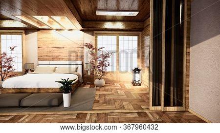 Bedroom Japanese Interior Design.3D Rendering