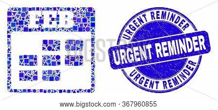 Geometric February Calendar Mosaic Pictogram And Urgent Reminder Stamp. Blue Vector Rounded Textured