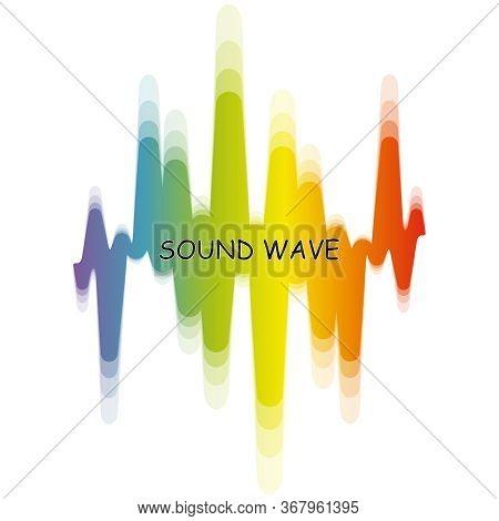 Rainbow Music Wave Logo. Vector Digital Waveform With Blur Effect. Modern Pulse Music Player Technol