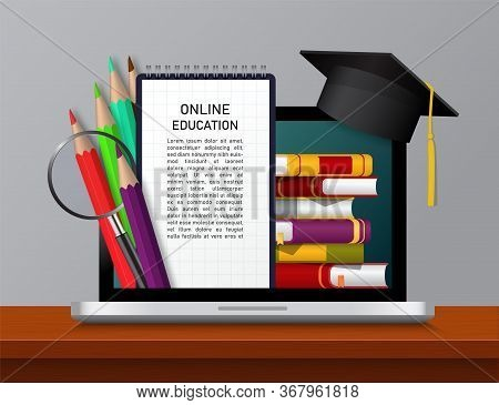 E-learning In University, Online Education In School On Laptop Screen. Ebook For Knowledge, Pencils,