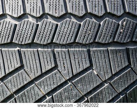 Summer Tire Tread, Close Up Image. New Automobil Tread