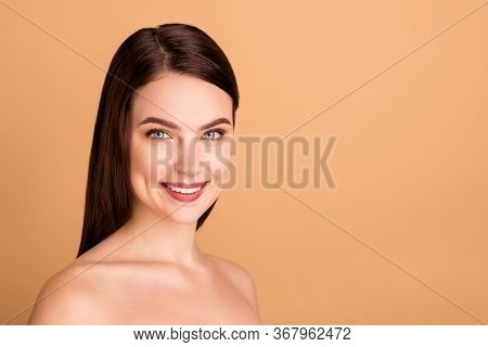 Close Up Photo Of Positive Girl Real Beauty Queen Have New Skincare Treatment Salon Spa Therapy For