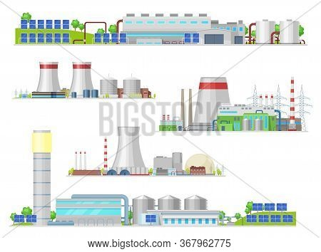Nuclear And Power Plant, Gas Station Isolated Vector Building Icons. Industrial Buildings And Factor