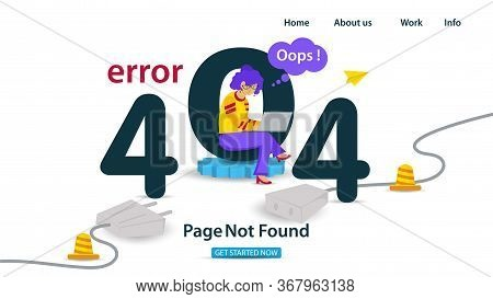 Banner, Oops, 404 Error, Page Not Found, Internet Connection Problems, Girl With Laptop Sitting On T